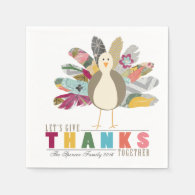 Feathered Friend Personalized Thanksgiving Napkins