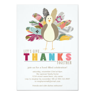 Feathered Friend Thanksgiving Dinner Invitation at Zazzle