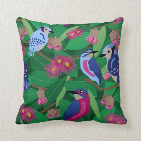 Feathered Friends in a gum tree Throw Pillow