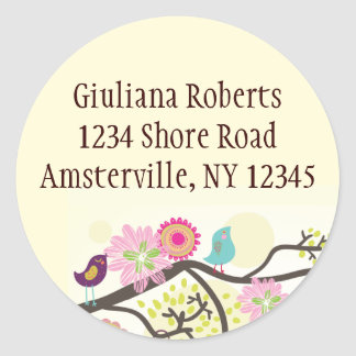 Feathered Friends Round Address Sticker