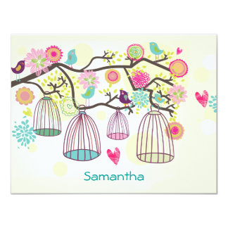 Feathered Friends Spring Flat Notecard