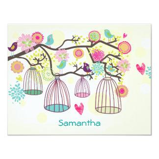 Feathered Friends Spring Flat Notecard Custom Invitations