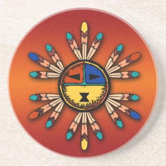 Feathered Katsina Sun Face Sandstone Coaster