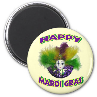 Feathered Mardi Gras Mask 2 Inch Round Magnet