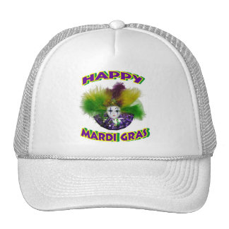 Feathered Mardi Gras Mask Trucker Hat
