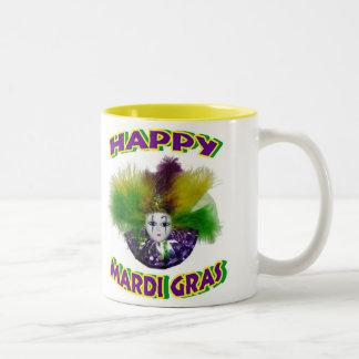 Feathered Mardi Gras Mask Two-Tone Coffee Mug