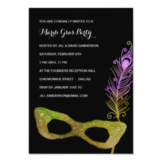 Feathered Mask | Masquerade Mardi Gras Party 5x7 Paper Invitation Card