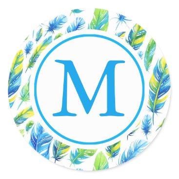 monogram_bouquet Feathered Monogram Classic Round Sticker
