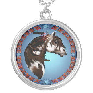 Feathered Paint Horse-Necklace Round Pendant Necklace