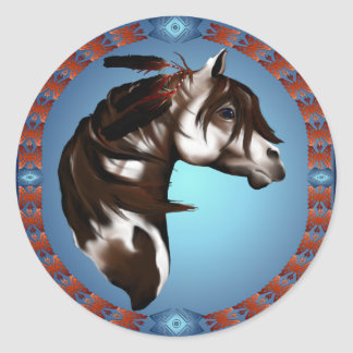 Feathered Paint Horse-Sticker Classic Round Sticker