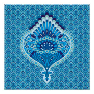 Feathered Paisley - Blueish Poster