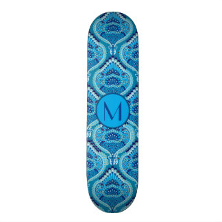 Feathered Paisley - Blueish Skateboard
