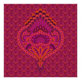 Feathered Paisley - Pinkoinko Poster