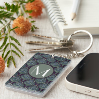 Feathered Paisley - Winter Forest Keychain