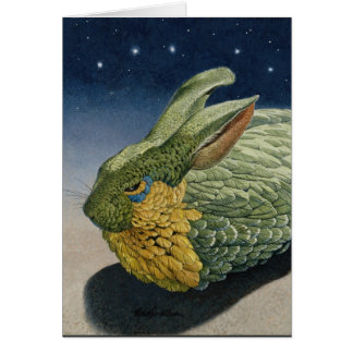 """Feathered Rabbit at night with stars """"Nocturn"""" Card"""