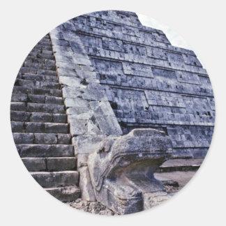 Feathered Serpent On El Castillo Classic Round Sticker