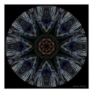 Feathered Stained-Glass Mandala Poster
