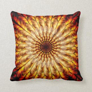 Feathered Sun Mandala Throw Pillow