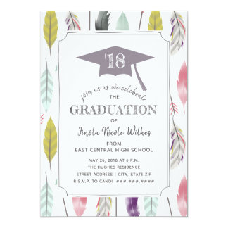 Feathers and Arrows Graduation Party Photo Card