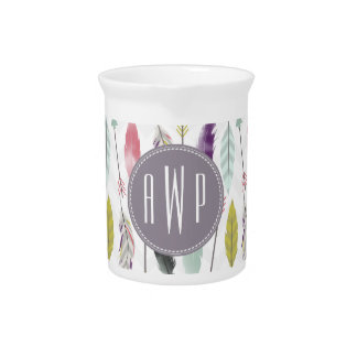 Feathers and Arrows Monogram Beverage Pitcher