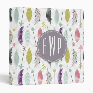 Feathers and Arrows Monogram Binder
