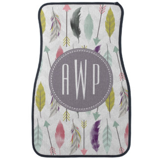 Feathers and Arrows Monogram Car Mat
