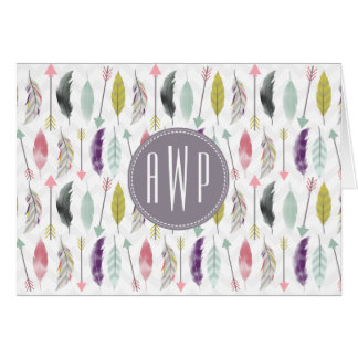 Feathers and Arrows Monogram Card