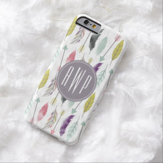 Feathers and Arrows Monogram Barely There iPhone 6 Case