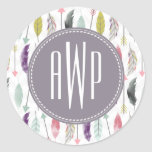 Feathers and Arrows Monogram Classic Round Sticker