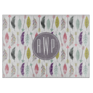 Feathers and Arrows Monogram Cutting Board