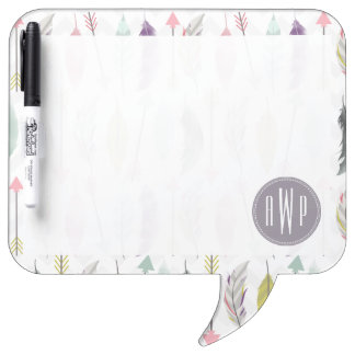 Feathers and Arrows Monogram Dry-Erase Board