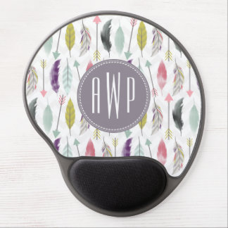 Feathers and Arrows Monogram Gel Mouse Pad