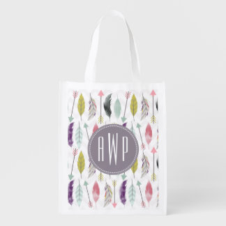 Feathers and Arrows Monogram Grocery Bags