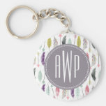 Feathers and Arrows Monogram Basic Round Button Keychain