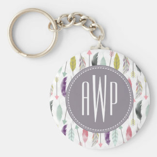 Feathers and Arrows Monogram Keychain
