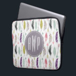 "Feathers and Arrows Monogram Laptop Sleeve<br><div class=""desc"">A gift featuring a pattern of feathers and arrows.  Personalize with your monogram.</div>"