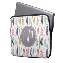 Feathers and Arrows Monogram Laptop Sleeve
