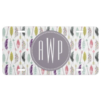 Feathers and Arrows Monogram License Plate