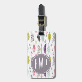 Feathers and Arrows Monogram Tags For Luggage