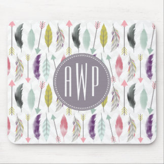 Feathers and Arrows Monogram Mouse Pad