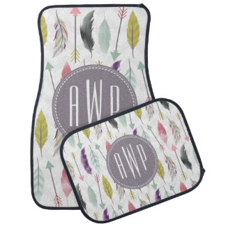 Feathers and Arrows Monogram Set of 4 Car Mats