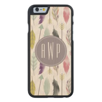 Feathers and Arrows Monogram Carved® Maple iPhone 6 Slim Case