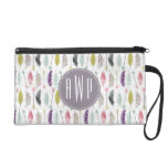 Feathers and Arrows Monogram Wristlet Clutches