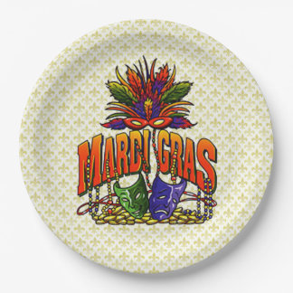 Feathers And Beads Mardi Gras Party Paper Plate