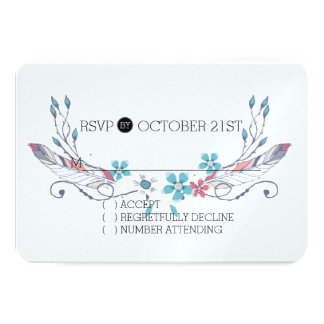 Feathers and Flowers RSVP 3.5x5 Paper Invitation Card