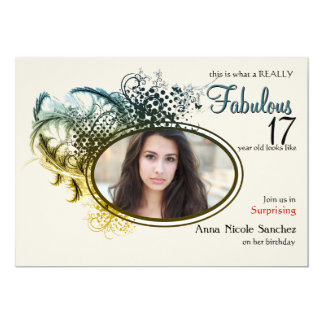 Feathers and Frills Photo Invitation