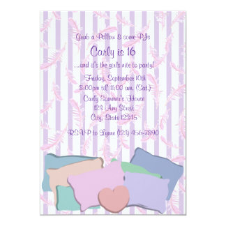 Feathers and Pillows/ Birthday 5x7 Paper Invitation Card