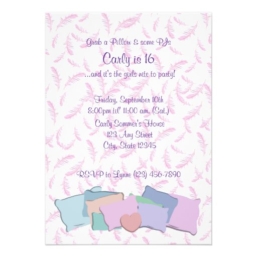 Feathers and Pillows/ Birthday Custom Announcements