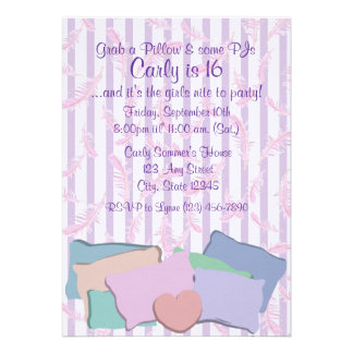 Feathers and Pillows Birthday Custom Invitation
