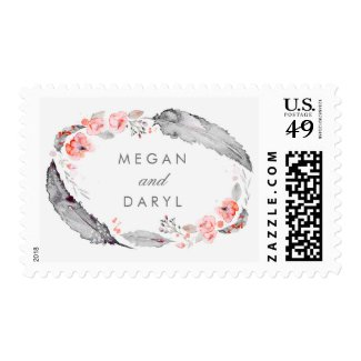 Feathers Bohemian Gray and Pink Wedding Postage Stamps at UniqueRusticWeddingInvitations.com